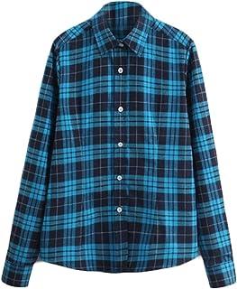 chenshiba-JP 女性の格子縞のフランネルのシャツのボタンダウン長袖tシャツボーイフレンド