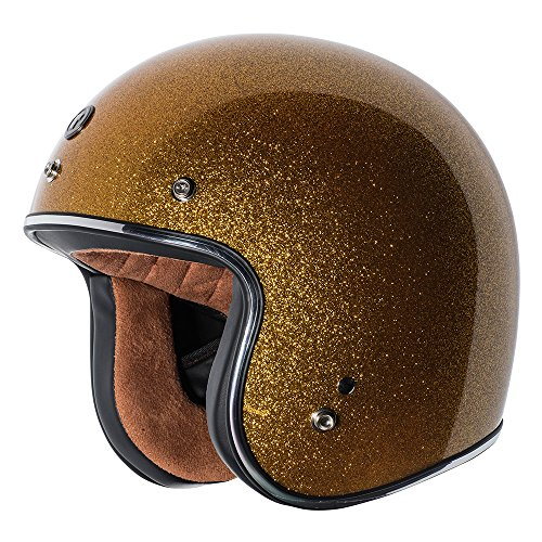 TORC unisex-adult open-face style (T50 Route 66) 3/4 Motorcycle Helmet with Solid Color (Gold Metallic), X-Large