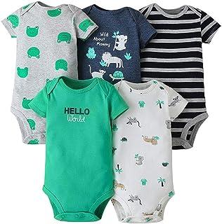 Body Bebés Niños Paquete de 5 Mangas Cortas Mono Mameluco Infantil Pijama Algodón de Verano Mono para Niñas Camisetas