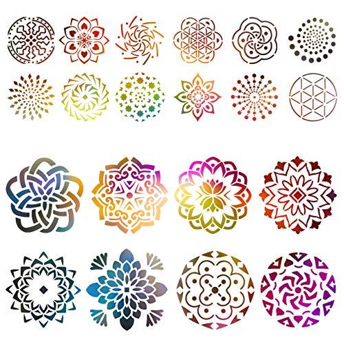 Kesote Schablone Mandala 20 Stück Schablonen Vintage Wiederverwendbar Zeichenschablonen Dotting Malerei zum Basteln Malen für Wand Holz Stein (9 cm, 15 cm)