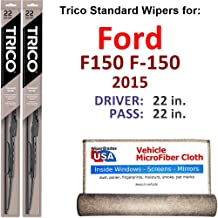 Wiper Blades for 2015 Ford F150 F-150 Driver & Passenger Trico Steel Wipers Set of 2 Bundled with Bonus MicroFiber Interior Car Cloth