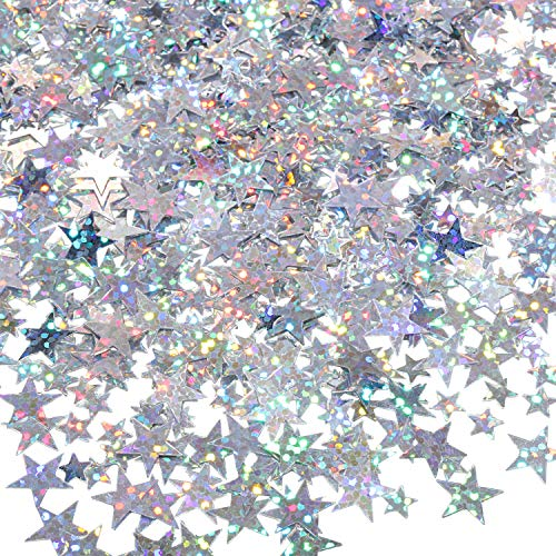 60 g Star Confetti Glitter Star Table Confetti Metallic Foil Stars for Party Wedding Festival Decorations (Glitter Silver, 10mm and 6mm)