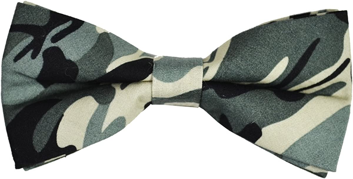 Paul Malone Cotton Bow Tie, Olive Camouflage