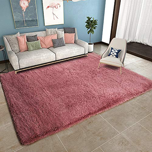 YOH Super Soft Area Rug for Girls Room Nursery Room Rug Fluffy Carpet Decorative for Living Room Bedrooms (5'3''x 7'5'',Blush )
