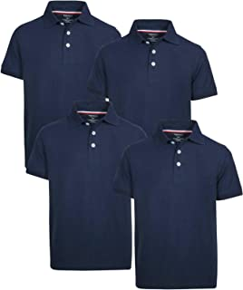Boys Short Sleeve Uniform Pique Polo Shirt - 4 Pack
