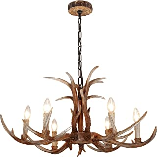 EFFORTINC Antlers vintage Style resin 6 light chandeliers, American rural countryside antler chandeliers,Living room,Bar,Cafe, Dining room deer horn chandeliers