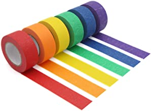 Coloured Masking Tape,Coloured Painters Tape for Arts & Crafts, Labelling or Coding - Art Supplies for Kids - 6 Different ...
