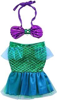 ملابس سباحة للأطفال الصغار والفتيات الصغار بتصميم ربطة عنق + تنورة حورية البحر شبكية خضراء ملابس للصور