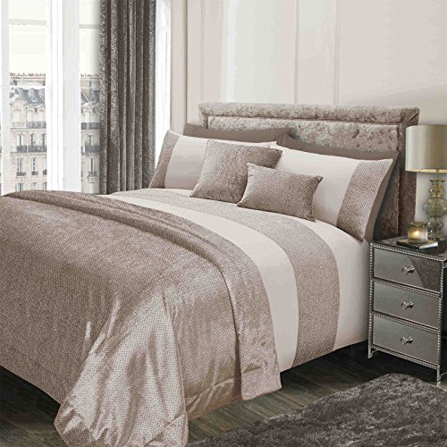 Sienna Glitter Duvet Cover with Pillow Case Sparkle Glitz Velvet Bedding Set - Natural Gold Cream, Double