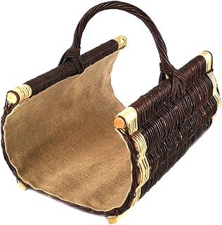 Cesta para leña de mimbre Asa de cesta para madera reforzado con forro de yute trenzado K12–574_ 1_ G