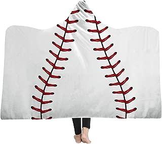 mucloth Kids Oversized Soccer American Football Pattern Hooded Soft Sherpa Blanket Cloak with Hood (Baseball, Kids)