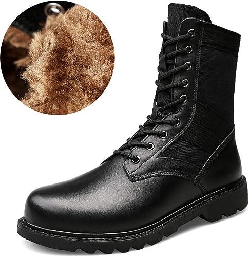 YAJIE-bottes, Décontracté Leather - Bottes mi-Mollet à la Mode Mode Mode pour Hommes - Grandes Tailles (Martin Velvet) (Couleur   Warm noir, Taille   39 EU) bd3