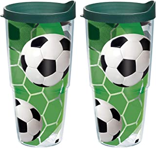 Tervis 1139505 Soccer Balls - Turf Background Tumbler with Wrap and Hunter Green Lid 2 Pack 24oz, Clear