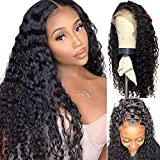 Human Hair Lace Front Wigs for Black Women Curly Lace Front Wigs Human Hair Pre Plucked With Baby Hair Deep Water Wave Lace Front Wig Human Hair(16 inch)