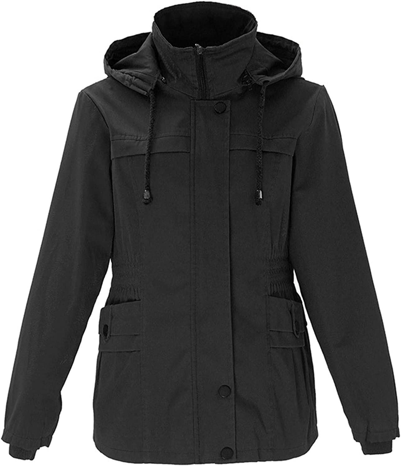 HGWXX7 Womens Coat Plus Size Zip Hooded Drawstring Jack New product type Parka Up Deluxe