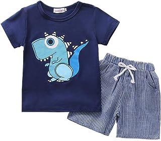 BOBORA Ensemble Bébé Garçon Été, 2PCs T-Shirt Dinosaure à Manches Courtes avec Short en Coton Rayé pour 1-6Ans