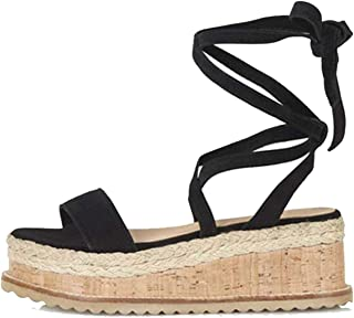 Women Sandals Summer Wedge Open Toe Fish Head High Heels Straw Sandals Lace Up Platform Sandals