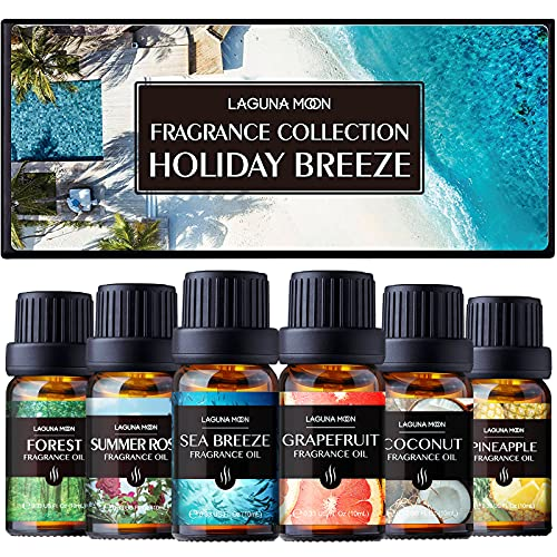 Lagunamoon Fragrance Oils Gift Set, Sea Breeze, Pineapple, Forest, Grapefruit, Summer Rose Fragrance Oil, Coconut Fragrance Oil for Candle Making, Soap, Bath Bombs DIY, Diffuser, 10ML/Bottle