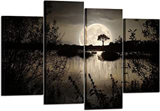 Kreative Arts - 4 Pieces Canvas Prints Wall Art Big Moon Over Lake in Dark Forest Modern Canvas Painting Landscape Picture Peaceful Jungle Poster Giclee Artwork for Home Decor