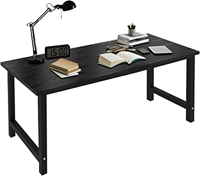 Home Office Desk-63 Inch Large Computer Desk Computer Table for Home Office, with Wide Workstation Tabletop for Writing, Made of The Finish Wood Board and Sturdy Steel Legs