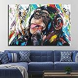 ganlanshu Gorila Graffiti Lienzo Imagen Pared Animales para Sala decoración Moderna Arte Callejero,Pintura sin Marco,45x67cm