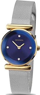 Ladies Blue Dial Quartz Watch with Silver Stainless Steel Strap 2291