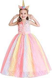 MYRISAM Unicorn Princess Costume Birthday Pageant Party Dance Performance Carnival Long Maxi Tulle Fancy Dress Up Outfits