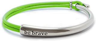 Bravelets Original Leather Bracelet   Be Brave Bracelets for Women of Men   Available in 16 Colors to Support your Cause or Raise Awareness   Inspirational, Get Well Soon, Chemo, Thinking of You Gifts