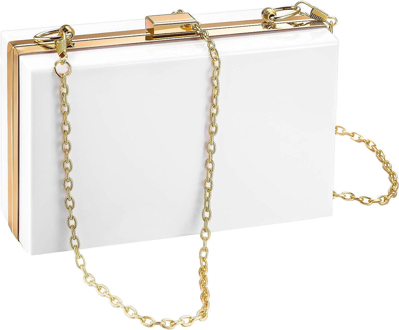 Women Acrylic Clutch Bag Crossbody Purse Evening Handbag with Removable Gold Chain