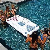 Table gonflable de bière-pong d'été, flotteur de bière-pong flottant de bateau de fête de piscine gonflable de PVC avec le refroidisseur, radeau de salon de flotteur de table de bière de seau de glace