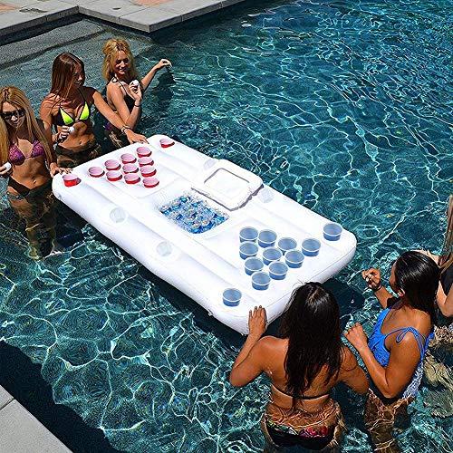 Yiran Summer Beer Pong Aufblasbarer Tisch, PVC Aufblasbares Pool Party Boot Schwimmendes Bier Pong Float mit Kühler, Schwimmbad Bier Pong Eiskübel Biertisch Float Lounge Raft für Erwachsene Party