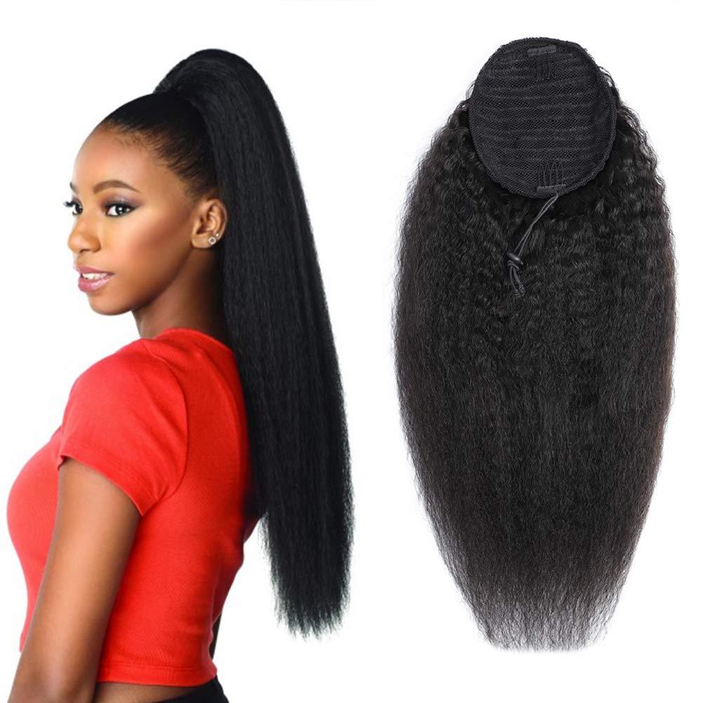 Wrap Drawstring Max 79% OFF Houston Mall Kinky Straight Human Extensio Hair Ponytail Puff