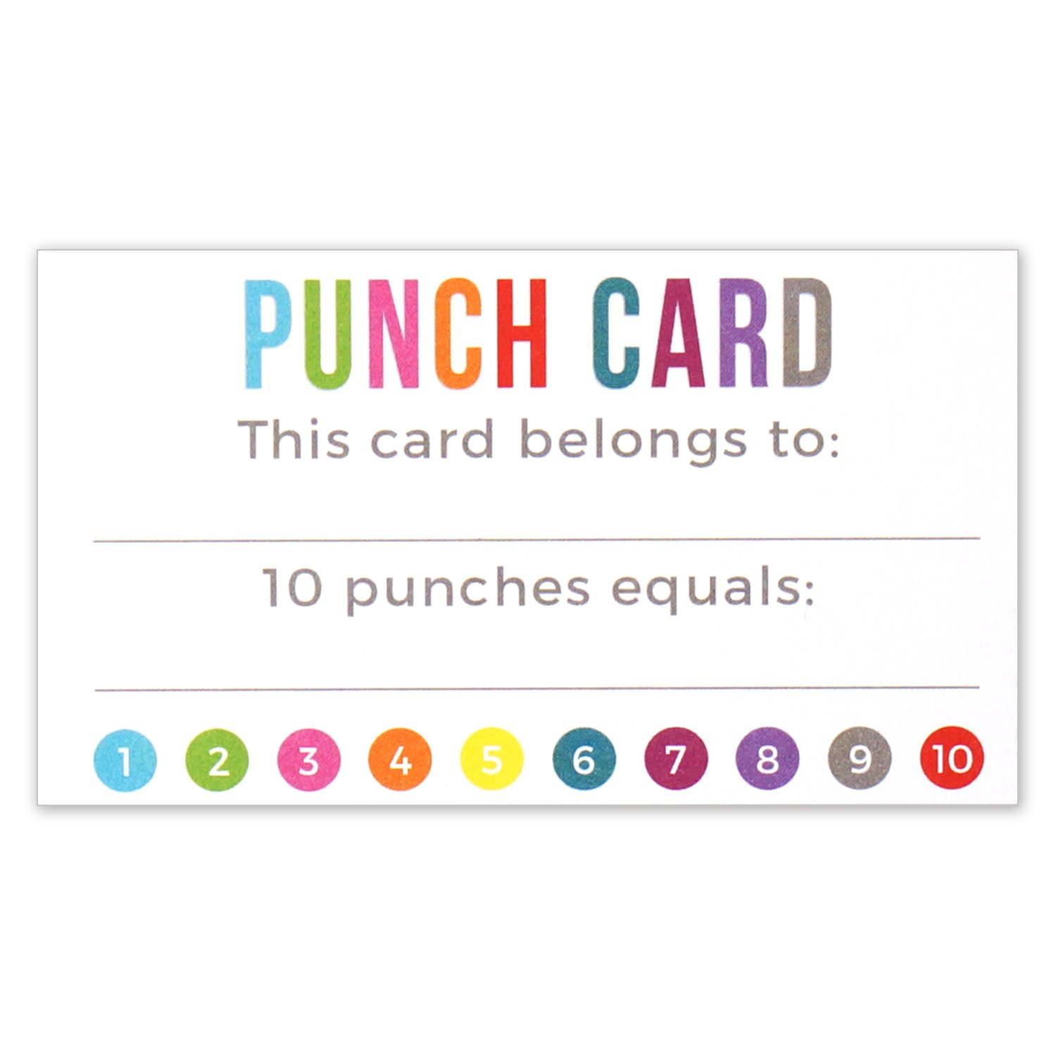 Punch Card - Incentive Loyalty Reward Cards - Business Card Size Inside Reward Punch Card Template