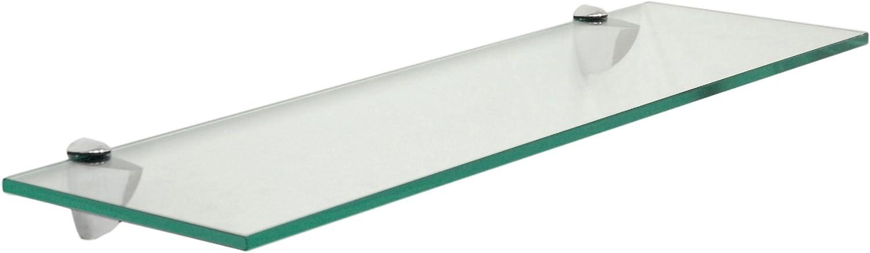 Floating Glass Bathroom Shelf Finish: Chrome Size: x 6