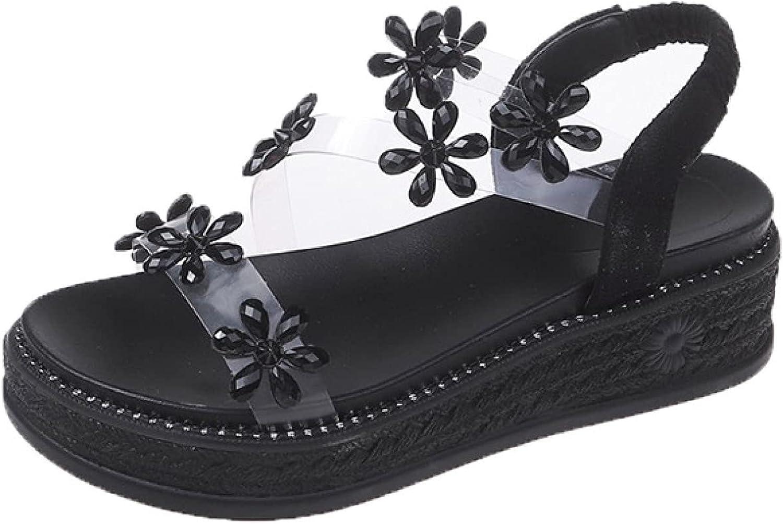 Women Flower Clear Max 75% OFF Fashion Strap Platform Ladies Heels Sandals Wedge Fas