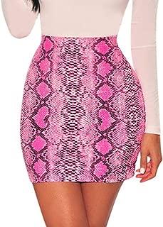 Womens Sexy Snakeskin Bodycon Skirts - Snake Skin Print Skinny Soft High Waist Short Mini Dress