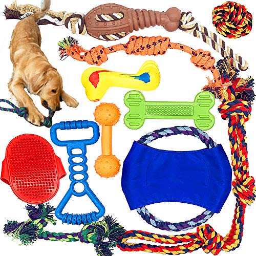 Jalousie Dog Chew Toys Dog Natural Rubber Toys Dog Rope Toys for Puppy...