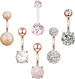 CZCCZC 14G Stainless Steel Belly Button Rings Marble Stone for Women Girls Natutal Mixed Stone Navel Rings Body Piercing Jewelry