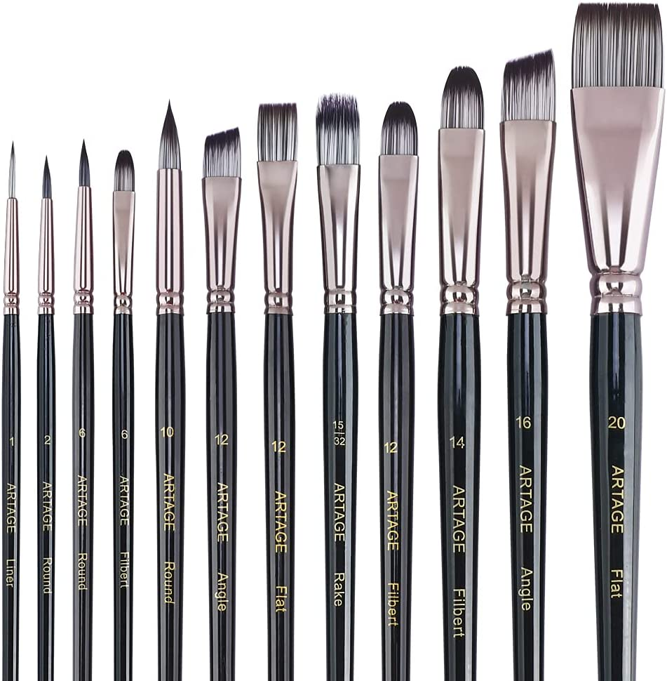 Artage 12pcs Professional Art Painting Wat Acrylic Brush New arrival Rapid rise for Set