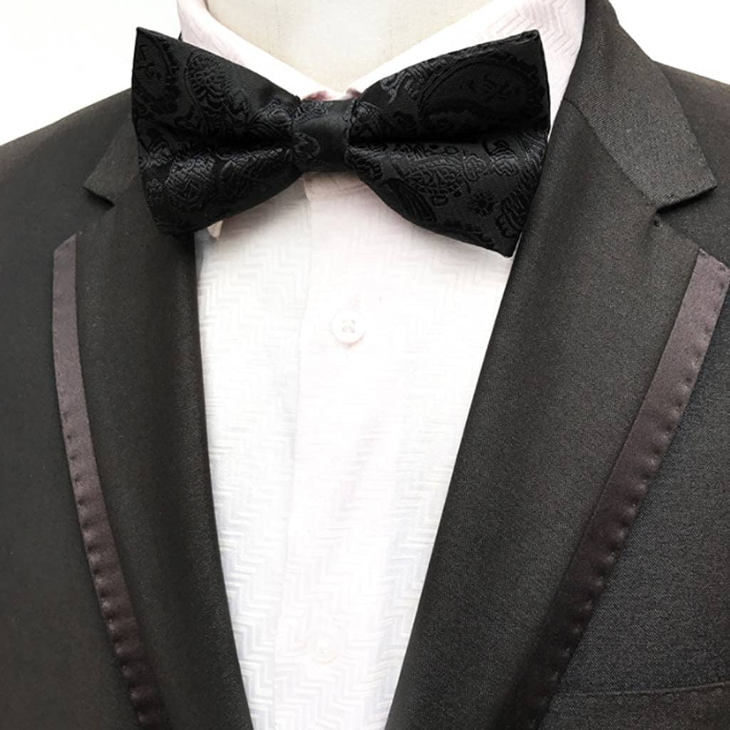 GANFANREN Men's Bow Tie Gold Bowtie Business Wedding Bowknot Dot Blue and Black Bow Ties for Groom Party Accessories (Color : A)