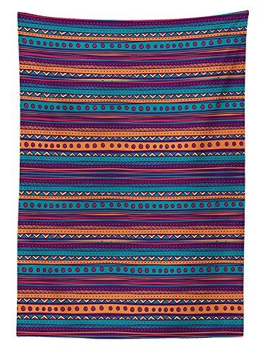 Yeuss Tribal Nappe ¨¤ Rayures r¨¦tro Motif AZT¨¨Que Couleur Riche Mexicain Ethnique Folkloric Impression, Salle Manger Table rectangulaire Coque, Bleu Sarcelle Prune, Orange, 60\