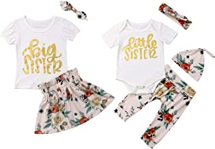 Family Clothes, Sister Match Baby Girl Clothes Short Sleeve Cotton T-Shirt Romper Tops Floral Skirt Pant Headband Outfits