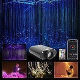 CHINLY Bluetooth 16W RGBW Kit de luz de cortina de fibra óptica, APLICACIÓN / Punto de destello remoto Iluminación de cascada Luz sensorial para niños Decoración para el hogar 300pcs 1.0mm 3m