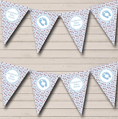 Blue Teddy Bear Personalised Baby Shower Bunting Party Banner Decoration Garland