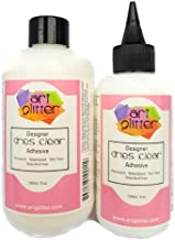 Art Glitter Designer Dries Clear Adhesive 8 oz Refill & 4 oz with Applicator Tip