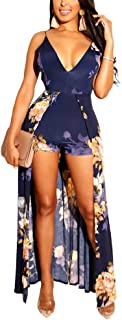 Womens V Neck Rompers Jumpsuits Bohemian Style Sleeveless Backless Bodysuit Rompers Dress Overalls,Blue,XL