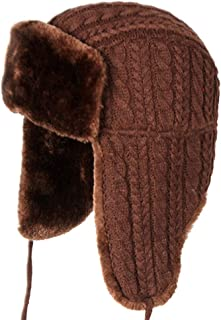 Hat Fashion Outdoor Ski Warm Hooded Hat Thick Knit Hat Siamese Wool Hat Fashion Accessories (Color : Brown)