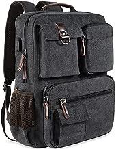 School Backpack Vintage Canvas Laptop Backpacks Men Women Rucksack Bookbags, Black