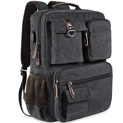 School Backpack Vintage Canvas Laptop Backpacks Men Women Rucksack Bookbags, Black