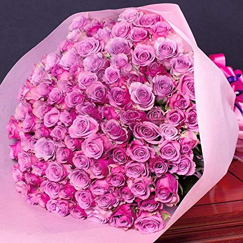 紫バラの花束 バラギフト専門店のマミーローズ 選べるバラ本数セレクト 贈り物の豪華な紫バラの花束 パープルローズ purple rose bouquet(生花) (100本)